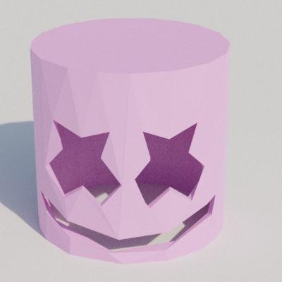 Modèle de masque Marshmallow en papercraft