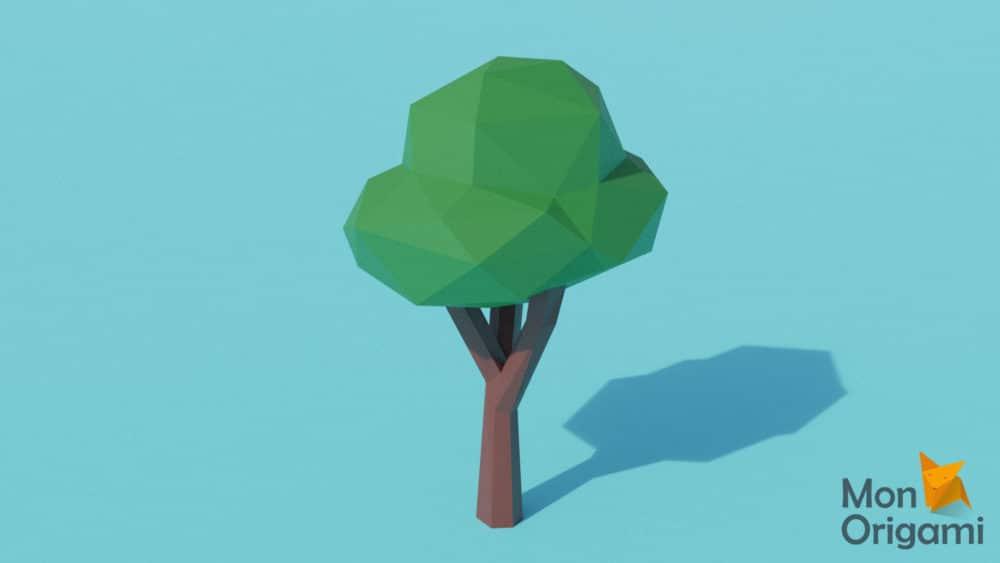 Modèle origami 3D arbre feuillu