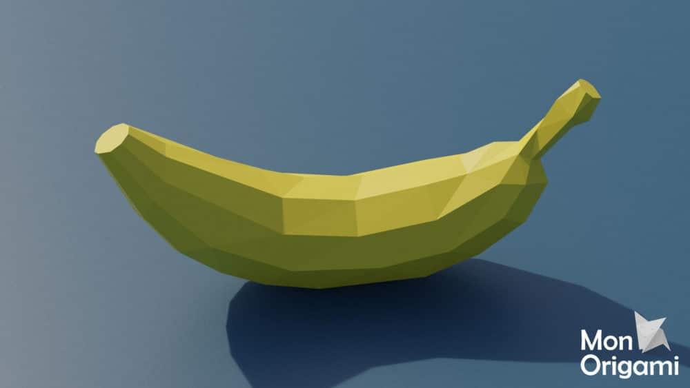 Modèle origami 3D banane