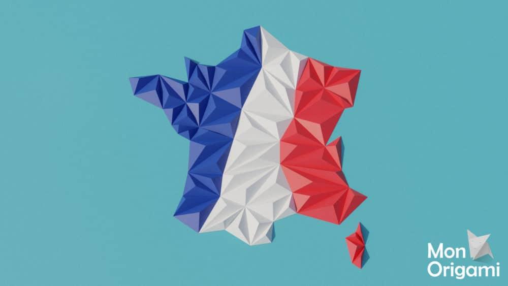Modèle origami 3D carte de France