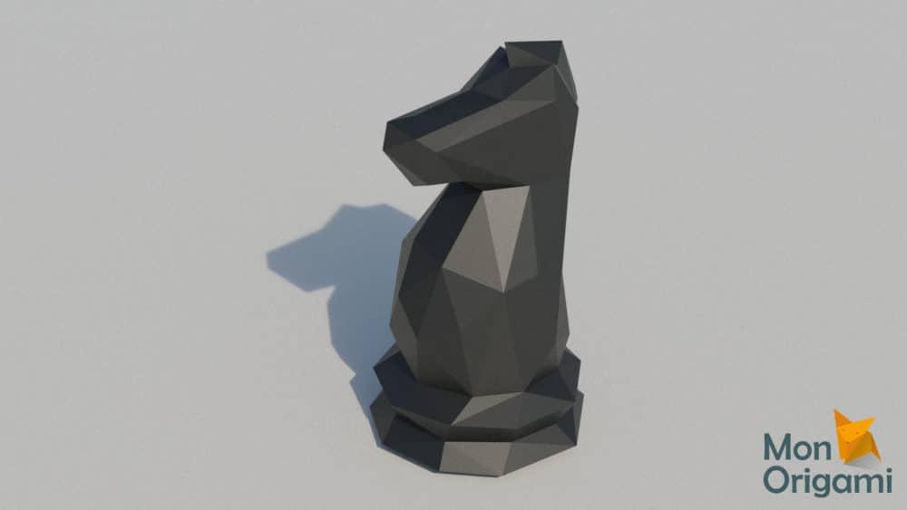 Modèle papercraft échiquier cavalier noir