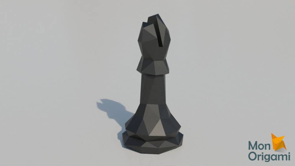 Modèle papercraft échiquier fou noir