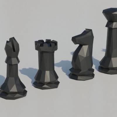 Modèle papercraft échiquier pièces noires