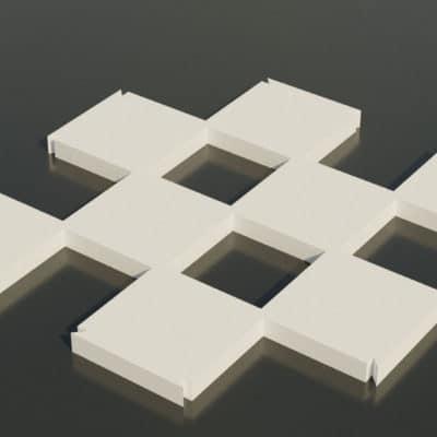 Modèle origami 3D échiquier cases blanches