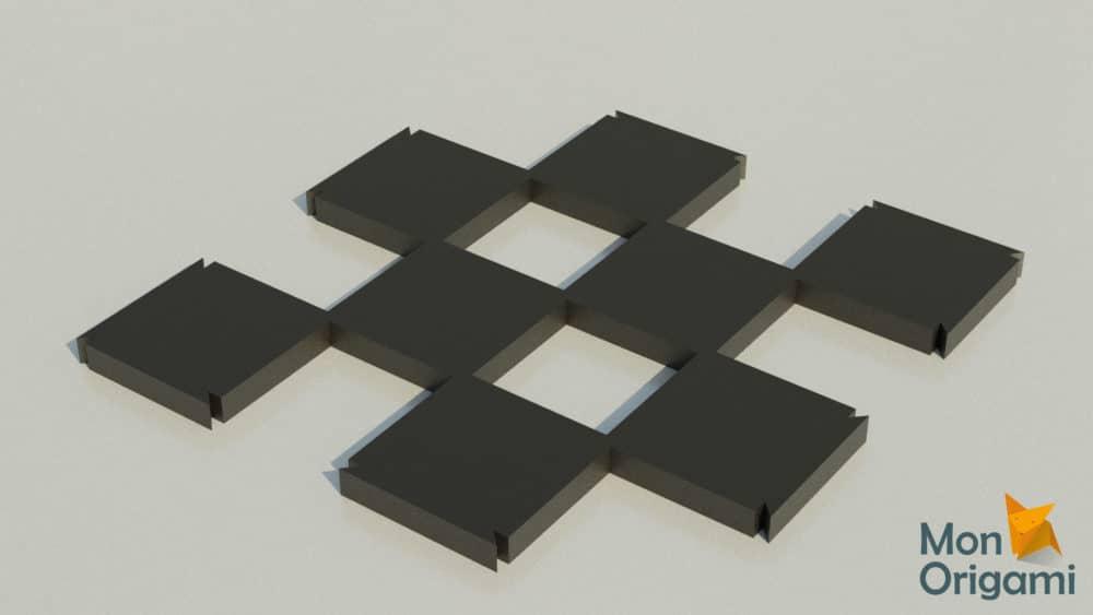 Modèle papercraft échiquier cases noires