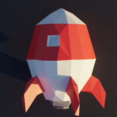Modèle fusée en origami 3D