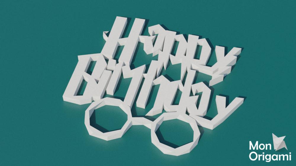 Modèle origami 3D Happy Birthday style Harry Potter