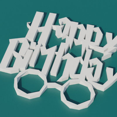Modèle origami 3D Happy Birthday style Harry Potter