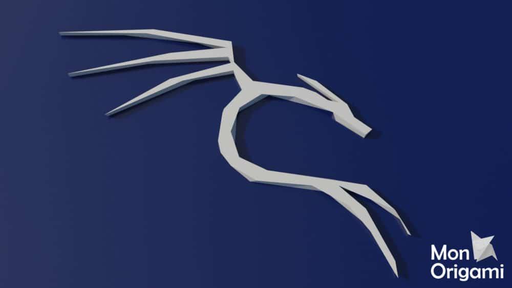 Modèle de papercraft symbole dragon Kali Linux