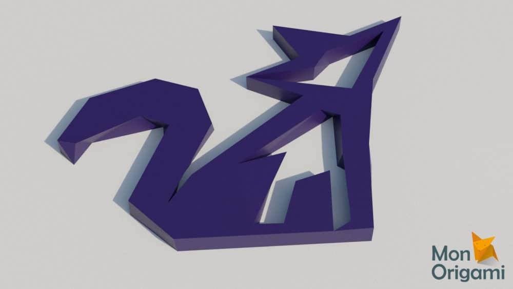 Sculpture renard décoration origami 3D