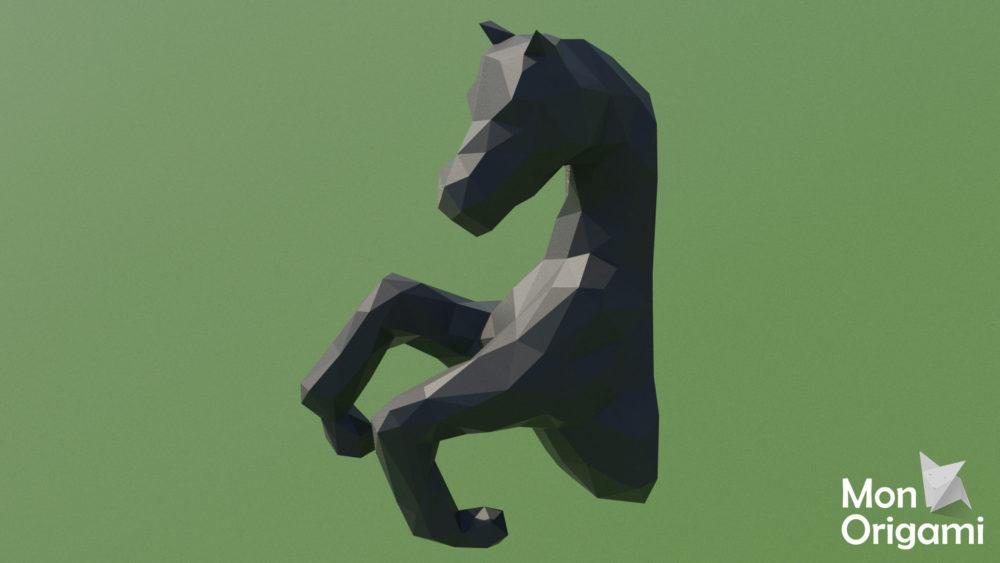 Trophée origami 3D cheval
