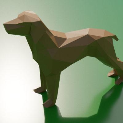 Sculpture origami 3D chien