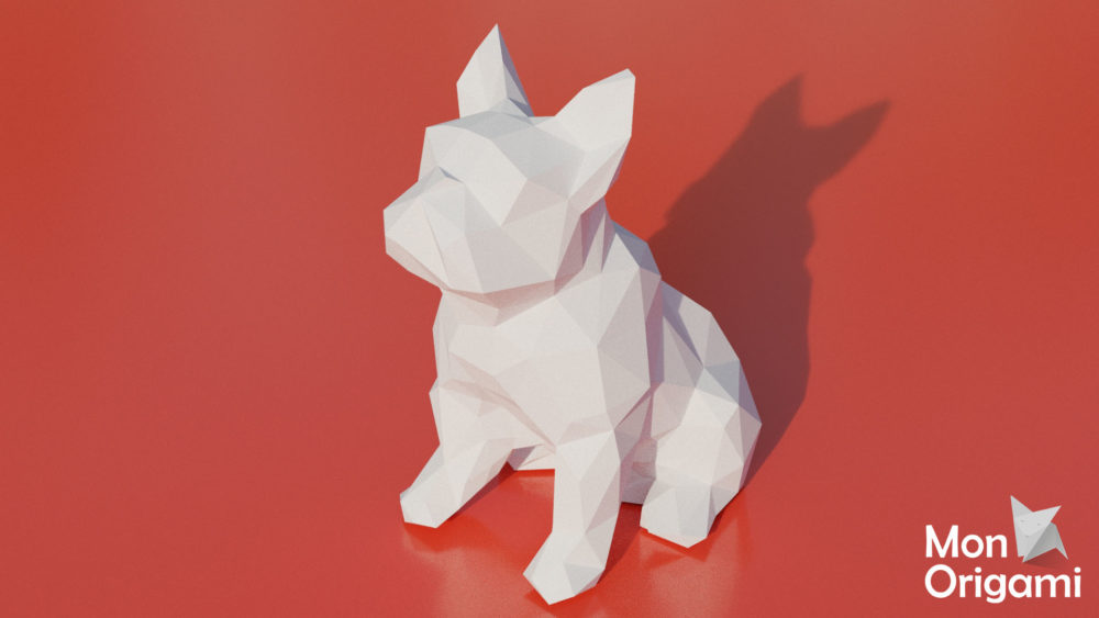 Patron papercraft chien bouledogue assis