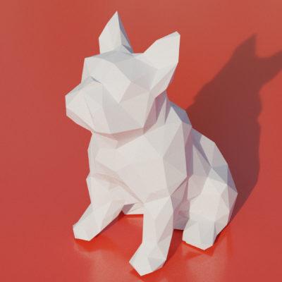 Patron papercraft chien bouledogue assis