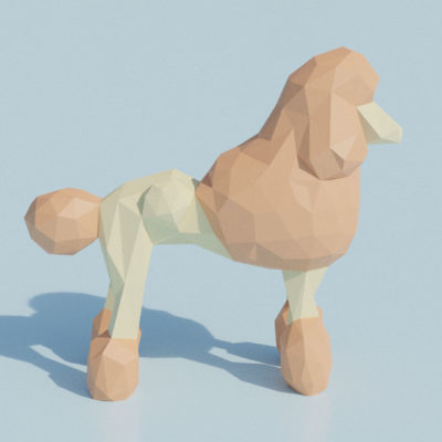 Sculpture origami 3D Caniche