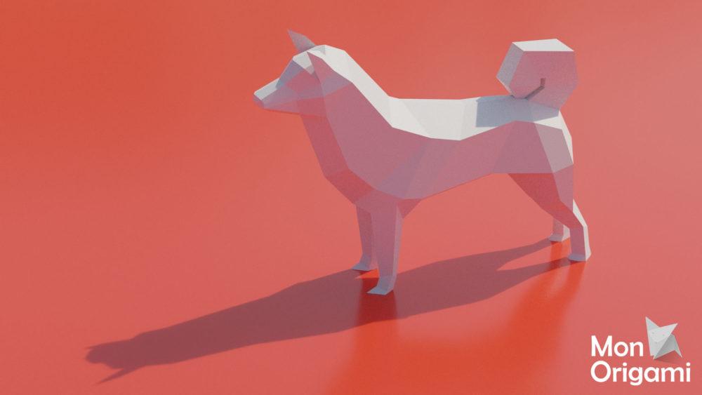 Sculpture origami 3D Shiba Inu