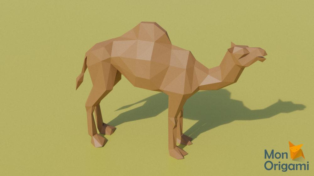 Sculpture origami 3D dromadaire