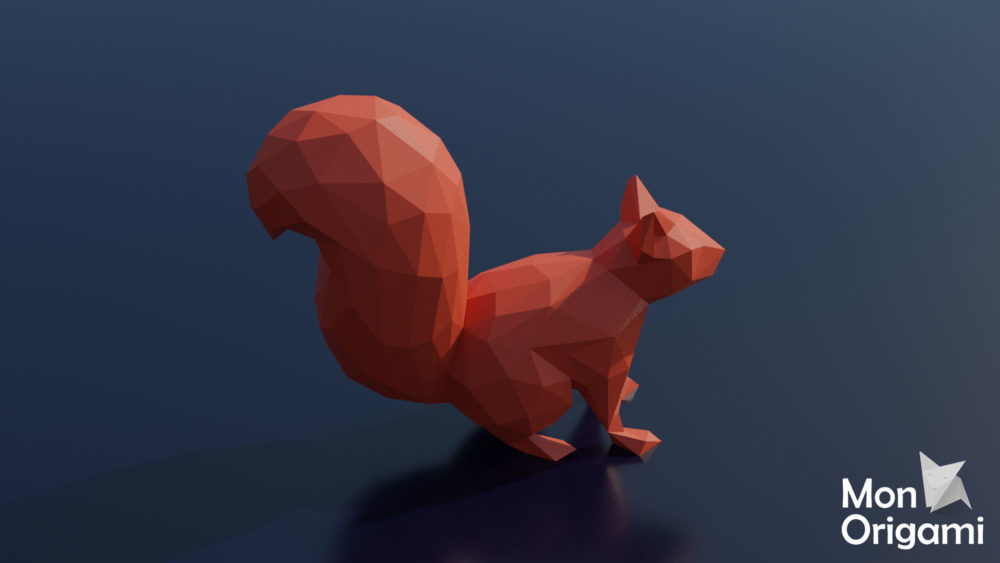 Sculpture origami 3D écureuil