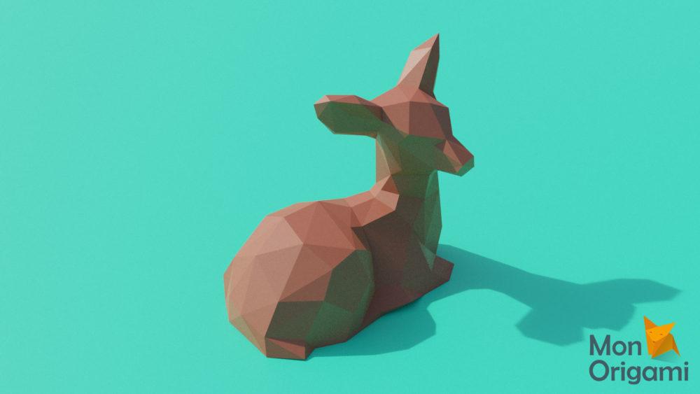 Sculpture origami faon assis