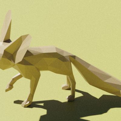 Sculpture origami fennec