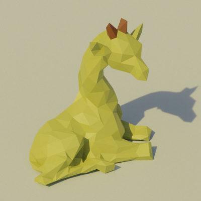 Sculpture papercraft girafe assise de profil