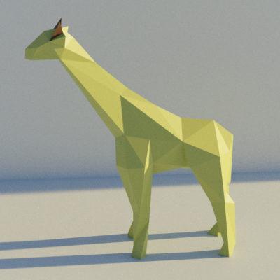 Sculpture papercraft girafe debout de profil