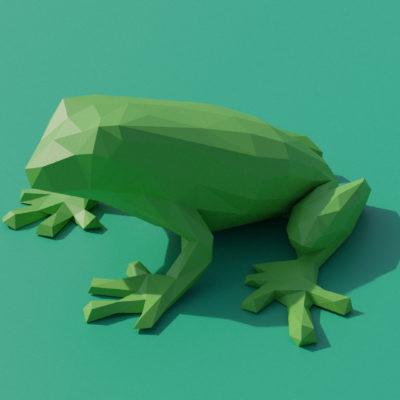 Sculpture grenouille verte origami 3D