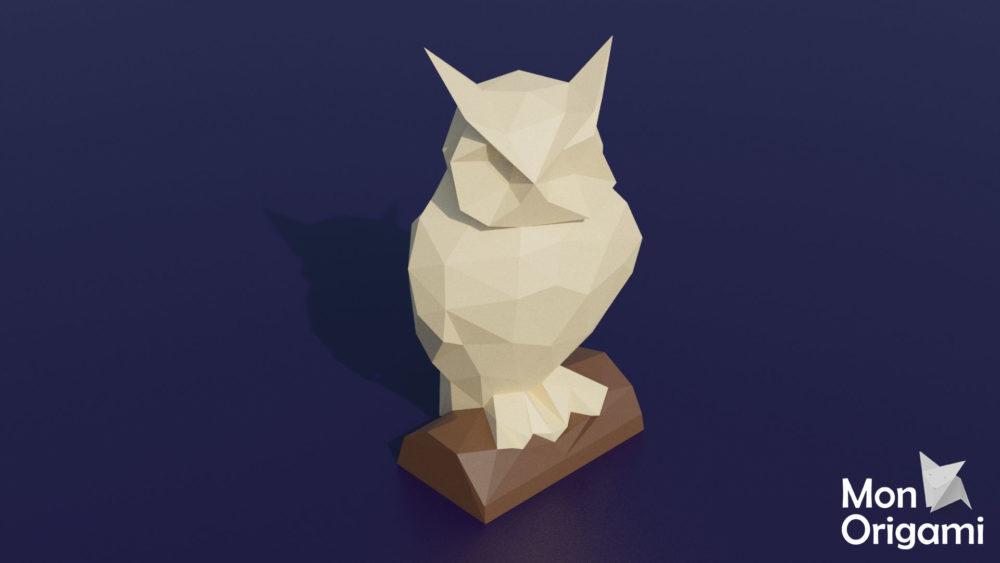 Sculpture hibou origami 3D