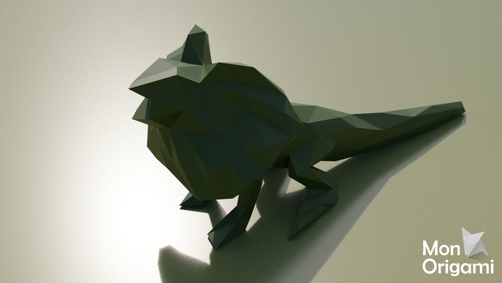 Sculpture lézard à collerette origami 3D
