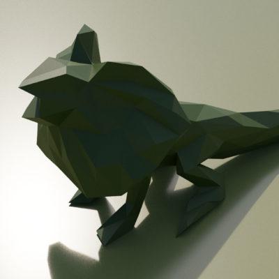 Sculpture lézard à collerette origami 3D