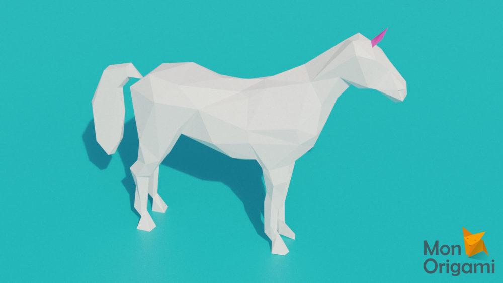 Sculpture licorne origami 3D