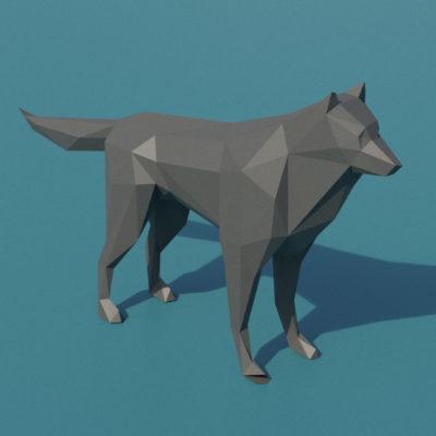 Sculpture loup origami 3D