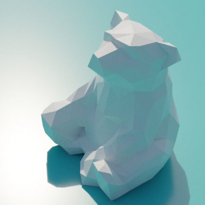 Sculpture ourson assis papercraft