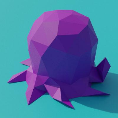 Sculpture pieuvre en papercraft