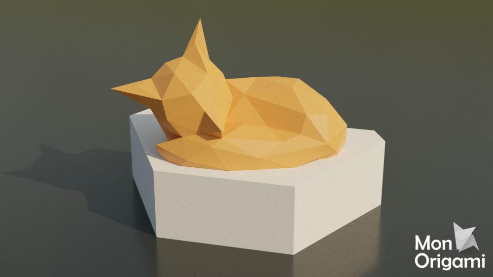 Sculpture renard en boule papercraft 3D