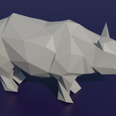 Sculpture rhinocéros en papercraft