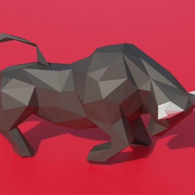 Sculpture taureau en origami 3D