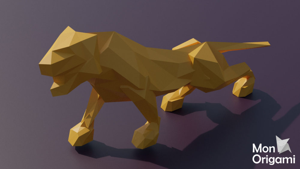 Sculpture tigre en origami 3D