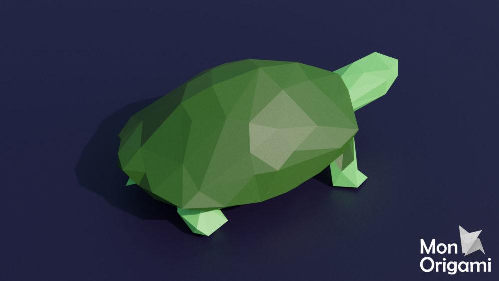 Sculpture tortue terrestre en origami