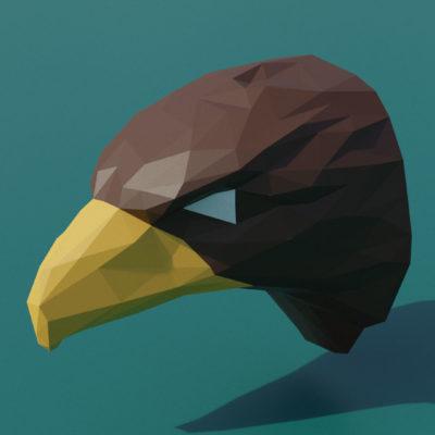 Modèle de trophée d'aigle en papercraft