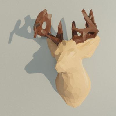 Trophée cerf en papercraft 3D