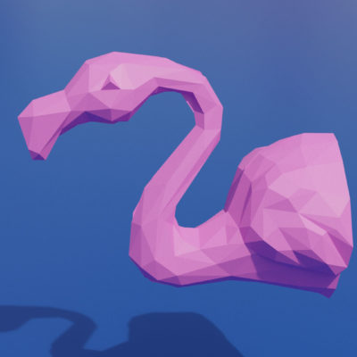 Patron papercraft trophée flamand rose