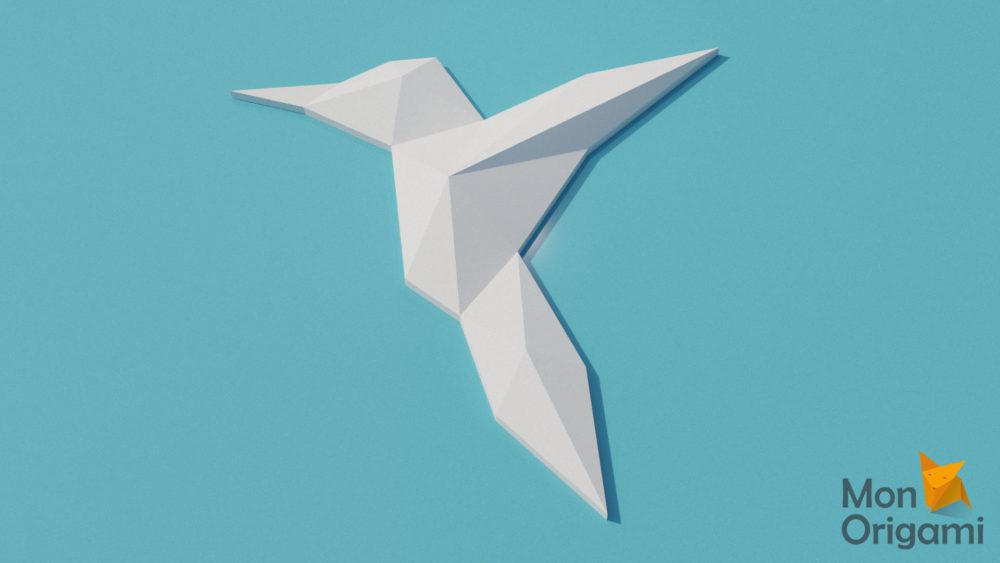 Trophée oiseau colibri en papercraft 3D