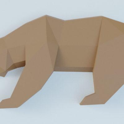 Trophée ours en papercraft 3D