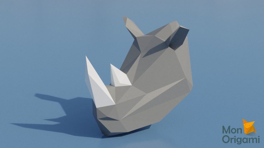 Trophée rhinocéros en origami 3D