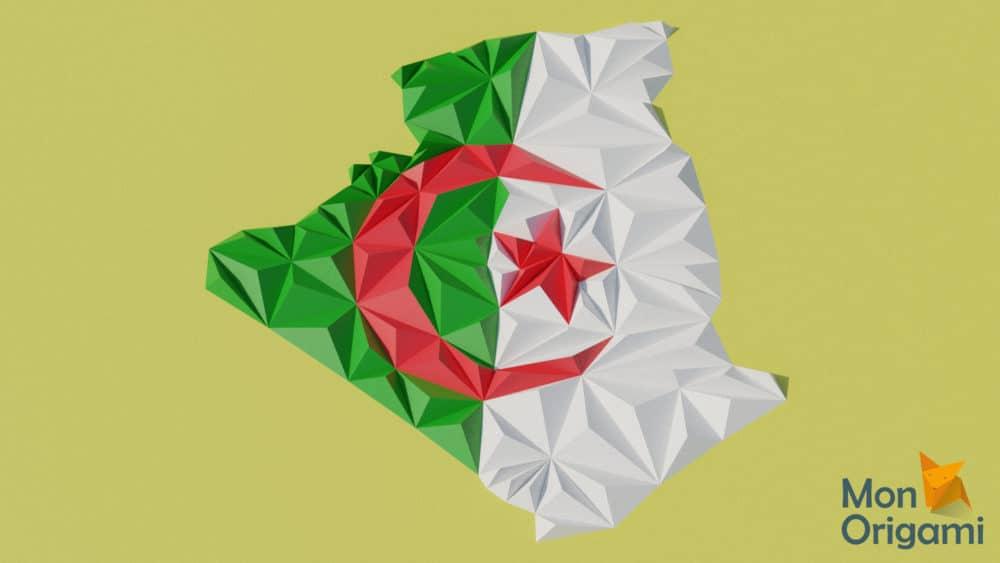 Modèle origami 3D carte de l'Algérie
