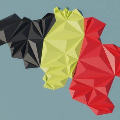 Modèle origami 3D carte de la Belgique