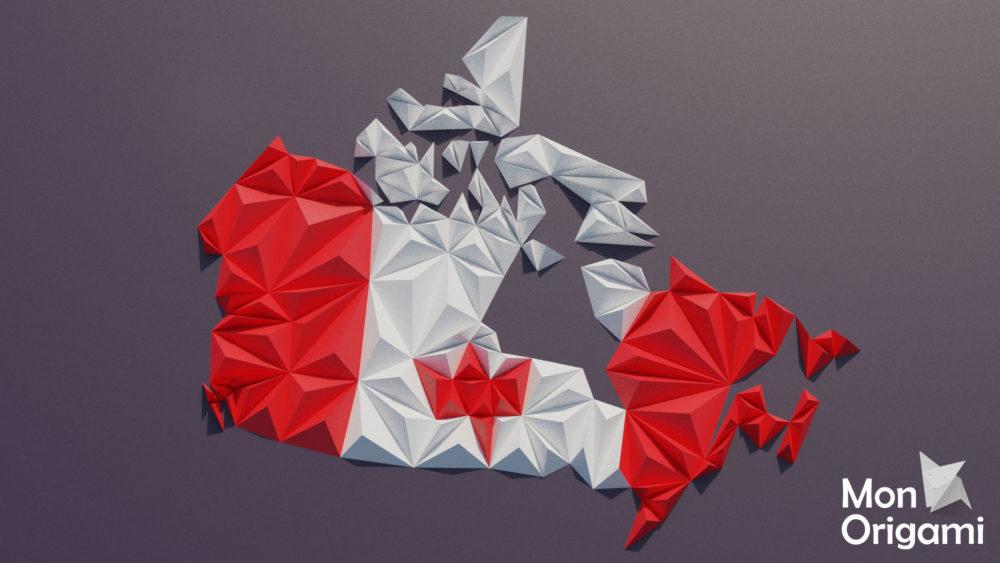 Modèle origami 3D carte du Canada