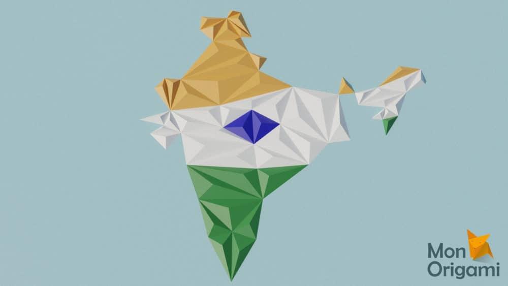 Modèle origami 3D carte de l'Inde