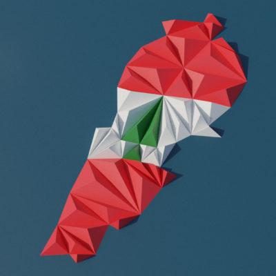 Modèle origami 3D carte du Liban